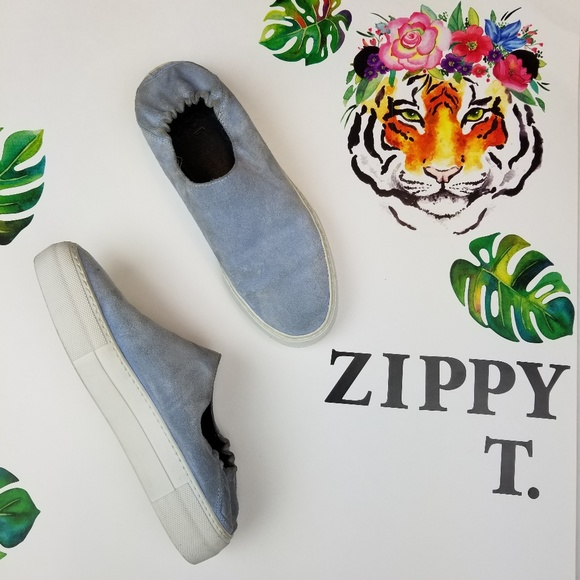 Tibi Shoes - Tibi charlie slip on sneaker slides blue suede